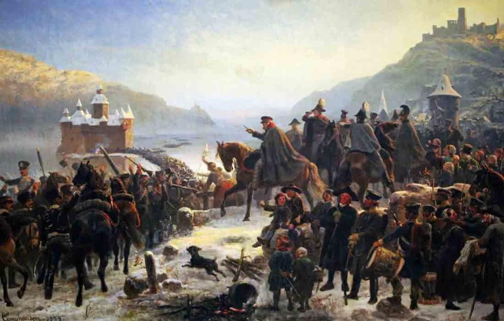 """Gemälde der """"Rheinüberquerung"""" von Wilhelm Camphausen (1818-1885)"""